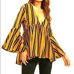 Striped Bell Sleeve Flow Top
